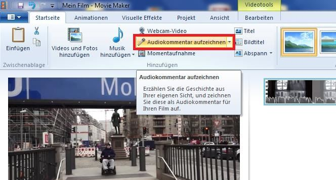 Screenshot Oberfläche Moviemaker