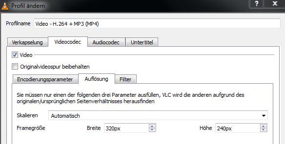 Screenshot Registerkarte Videocodec, Unterregisterkarte Auflösung