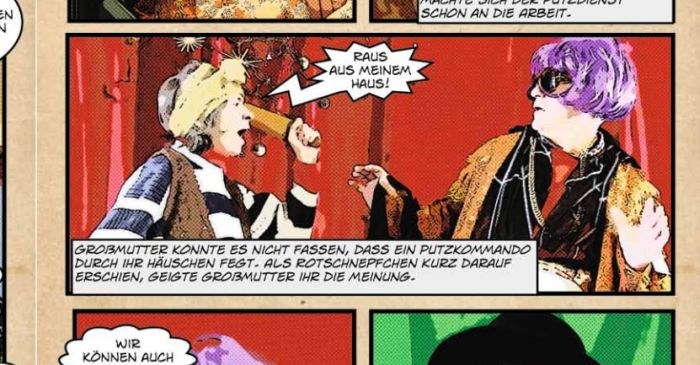 Ausschnitt aus Comic: Großmutter droht Rotschnepfchen mit dem Nudelholz
