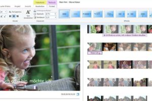 Screenshot: Movie Maker-Oberfläche. Videovorschaubild und Timeline. Ein Untertitel wird kopiert und in der Timeline an andere Stelle versetzt
