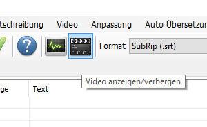 Screenshotausschnitt Subtitle Edit: Filmklappe ist markiert (Video anzeigen/ verbergen)