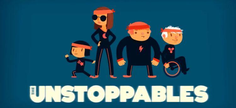 Die Unstoppables: Mai, Melissa, Jan und Achim. Melissa ist blind und Achim im Rollstuhl. Alle haben haben Kampfsportoutfits an.