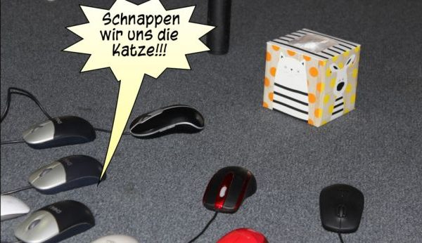 Ausschnitt aus dem Comic: (Computer-) Mäuse machen Jagd auf die (Papierbox-) Katze