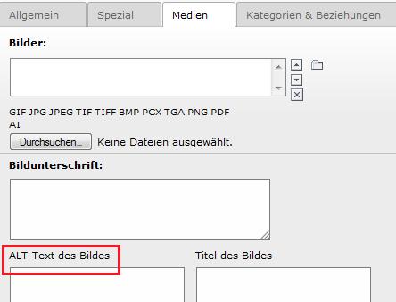 Screenshot einer Typo3-Oberfläche, der Bereich für das Eingeben von Alternativtext ist rot markiert