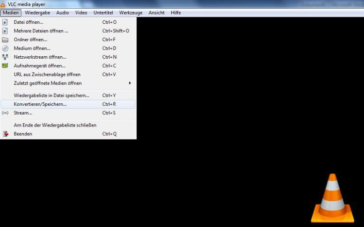 Screenshot Oberfläche VLC O Player, Dropdown Menü Medien öffnen angezeigt