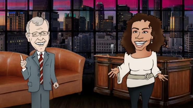 Szene aus Mini-Trickfilm, erstellt mit Puppet Pals: Eine Moderatorin interviewt einen Mann